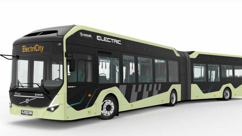 An electric articulated bus in Gothernburg, Sweden, supplied by Volvo