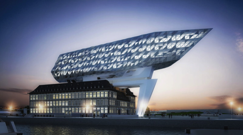 Offices of the Port of Antwerp, a dramatic building by architect Zaha Hadid