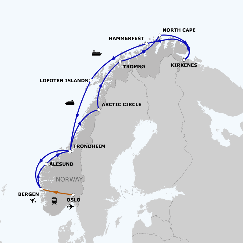 The world's largest boat batteries will service ships on this route- a map of route from Bergen, Norway to Kirkenes and back