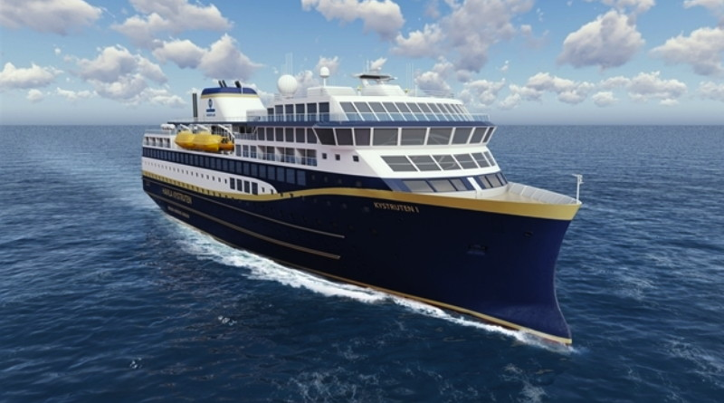 Artist's conception of large electricity-powered cruise ship
