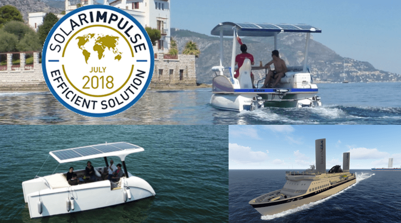 three boats - two solar boats and a shipping boat with huge sails