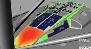 Computer design of solar panels on boat deck