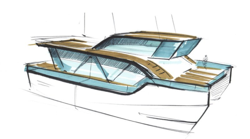 A sketch of the design of a two story catamaran
