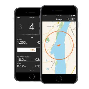 view of a smartphone monitoring app for electric boat motor