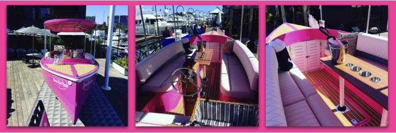 the pink interior decor of an electric boat with pink table and trim
