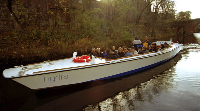 world's 1st hydrogen boats held about 20 people seated in 4 rows of a long low vessel