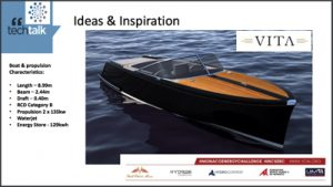 A slide of a VITA yacht with facts and figures from a PowerPoint presentation