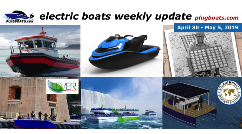 A montage of photos showing a variety of stories about electric boats