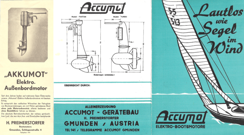 old catalogues from the 1940s and 1960s of the Accumot electric boat motor company
