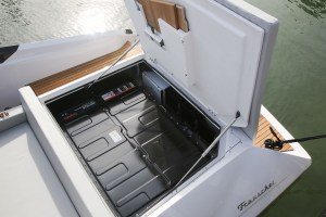 a bank of batteries in the stern of the electric Frauscher Mirage boat