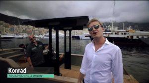 Formula One Champion Nico Rosberg and X-SHore electric boat founder Kondrad Bergstrom on the X-Shore in Monaco