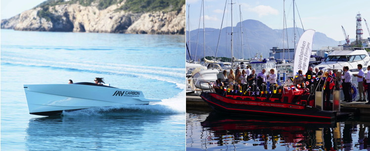 Side by side photos of luxury electric speed boat and electric work boat the same size