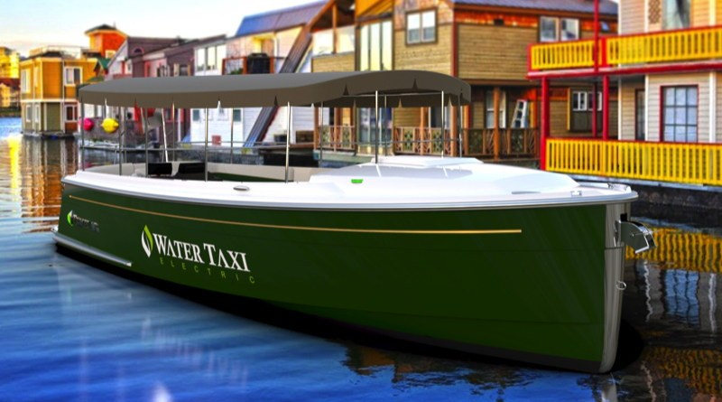 A green 8 meter electric water taxi with room for 12 passengers