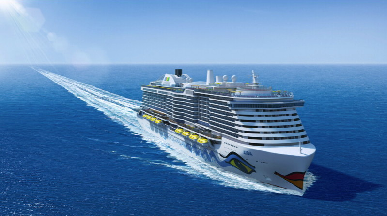 The 6600 passenger cruise ship that will have batteries installed travels through the ocean