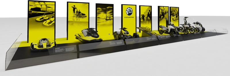 A lineup of electric recreational vehicles, including an electric jetski, from BRP company