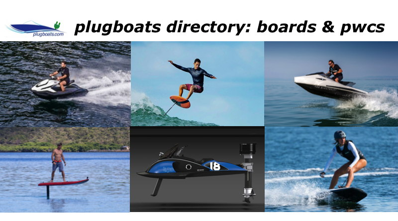 Collage of photos of electric surfboards, efoiling boards and and jetskis