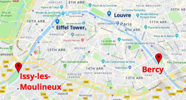 Map of Paris showing route of SeaBubbles electric hydrofoiling watertaxi