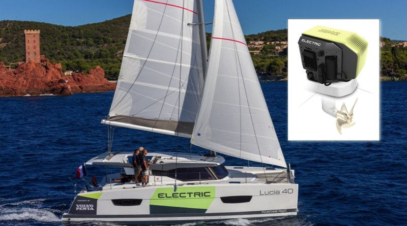 a sailboat at sea with an inset photograph of the new Volvo Penta electric saildrive