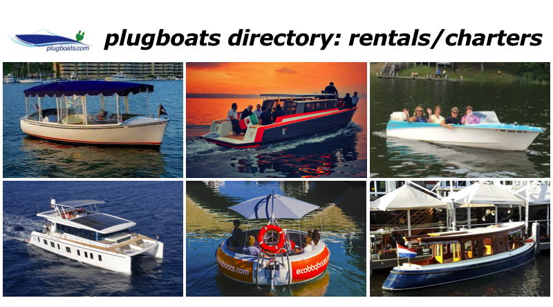 Phots of a variety of electric boats that can be rented or chartered