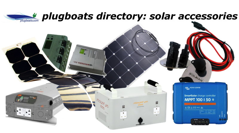 A variety of solar panels and accessories for electric boats
