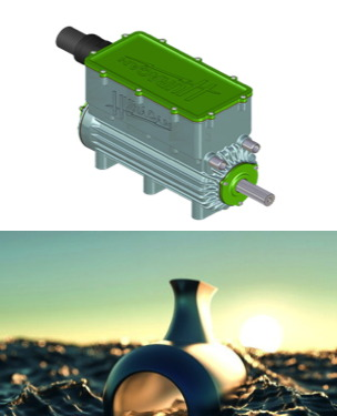 Two images - a regular electric motor ro drive a waterjet and a DeepSpeed turbine waterjet