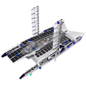 a cutaway schematic of the Energy Observer showing the solar panels, sails and batteries