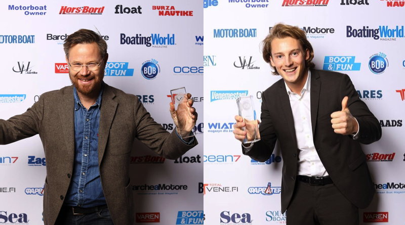 Best of Boat awards: Two electric boat award winners holding up their trophies and smiling