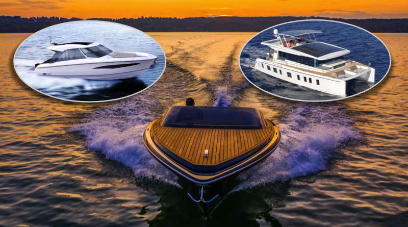 three electric boats - two speedboats and a solar powered catamaran