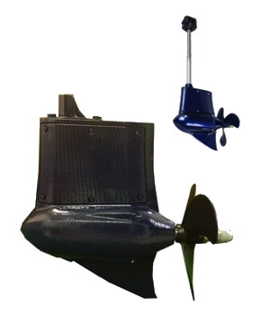 Gardenergy electric boat motor pod with and without tiller handle