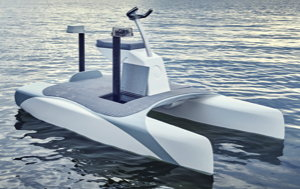 an electric watercraft with a charging pillar telescoping out of the deck