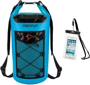 a dry bag for a boat with a see through phone case