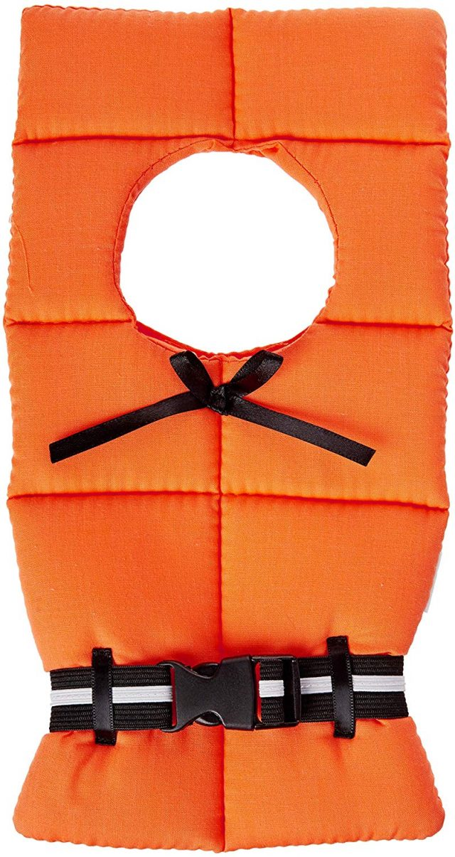 a small life preserver that goes around a bottle of wine