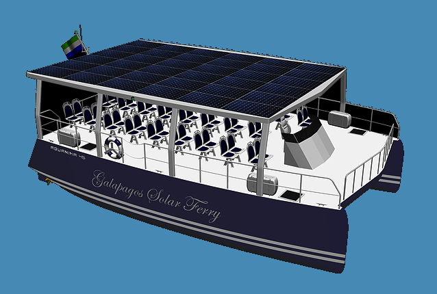 artists conception of a 32 person solar ferry boat