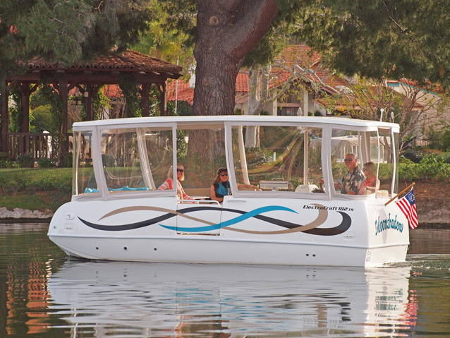 Electric cruising boat with roof