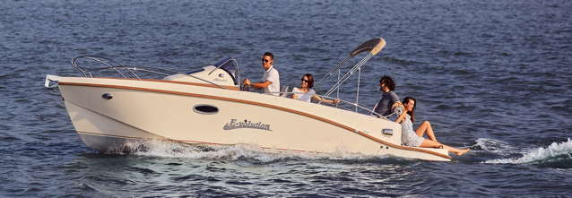 Electric yacht with cuddy cabin and 4 people on board