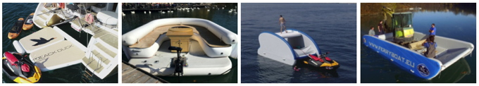 photos of the four innovations that led up to the inflatable solar catamaran