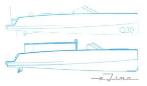 electric boat e-Limo compared to Q-30 schematic