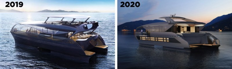 Version 2 and Version 1 of incredible solar yacht SolarImpact