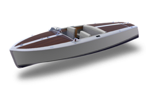 Canadian Electric Boats Bruce 22 hatchback model with mahogany over the aft portion