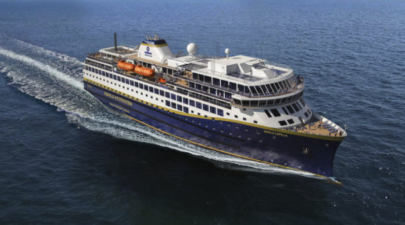 fuel cell powered cruise ship sailing in arctic waters - artist conception