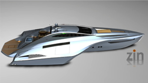 high performance electric runabout is from designer of this futuristic winged boat from 2005