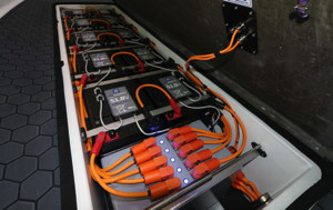 rim motor on the Pulse 58 is powered by 8 battery packs seen in the case in the hull of the boat