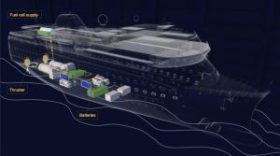 fuel cell powered cruise ship cutaway schematic showing liquid hydrogen storage and battery placement