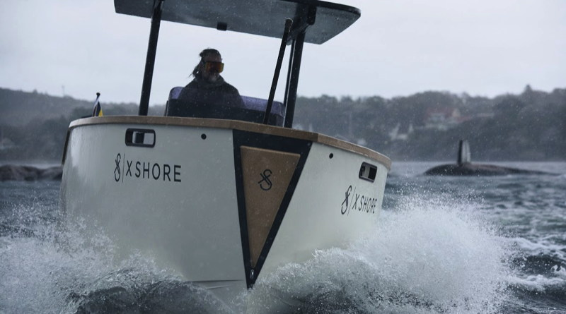 Swedish electric boat X Shore making waves as it cuts through rough waters