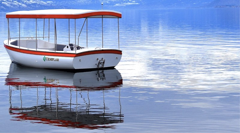 electric cruising boat from Templar shown on a lake