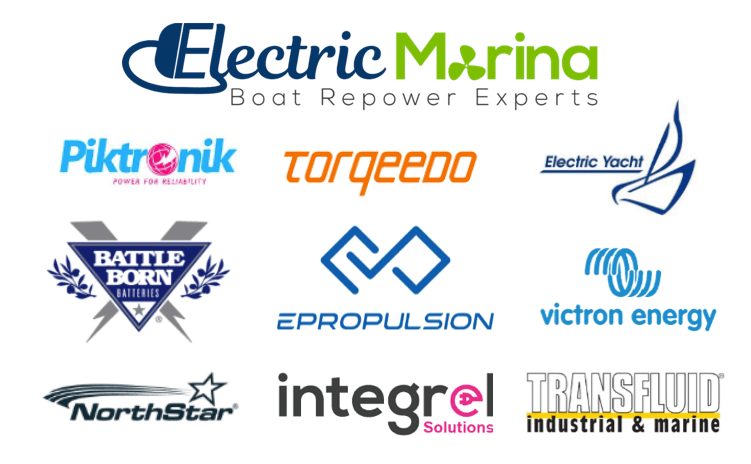 Electric Marina logo and logos of brands sold