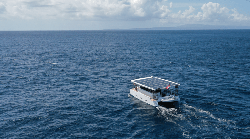 Solar yacht sea trial photo shows Aquanima far out in the ocean