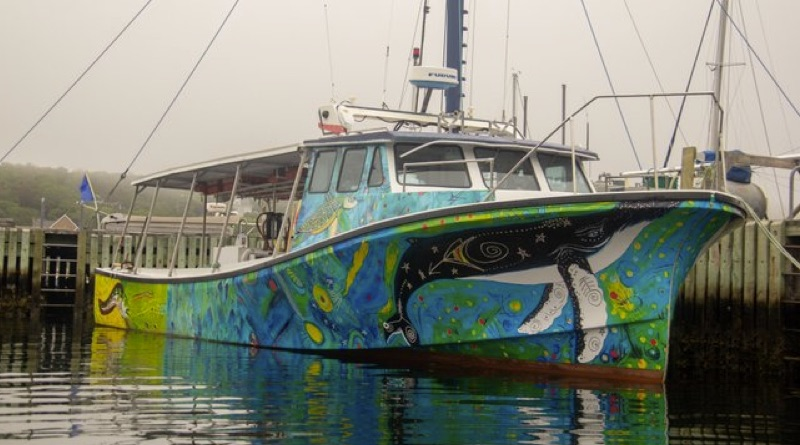 lithium-ion commercial passenger boat is shown with bright painting by Indigenous artists all over hull