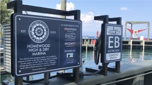 EB Charger at marina for Nautique electric boat