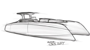 electric power catamaran sketch by Jonas Hertwig